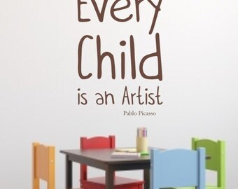 Picasso Quote Wall Sticker 'Every child is an Artist' Playroom / Bedroom Sticker by Createworks H587K