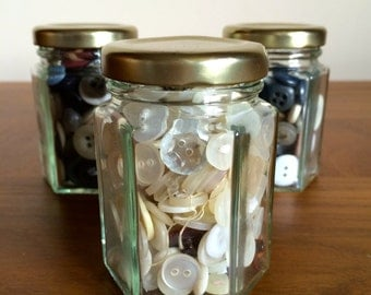 Small Glass Jar with Vintage Mix of Buttons