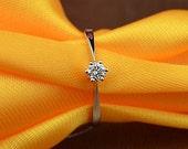 Classic 18k White Gold Diamond Engagement Ring Wedding Ring Birthday Anniversary Valentine's