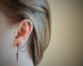 Cartilage earring, ear cuff, black earrings, black ear cuff, spikes earrings, punk earrings, punk ear cuff, black cartilage earrings