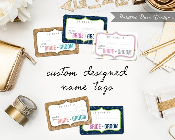 Custom name tags digital printable event by paintedrosedesign for Event name tag template