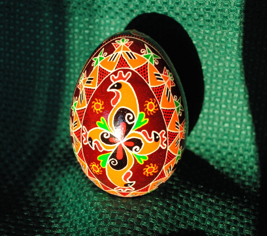 roosters and chicks ukrainian easter by theeggnpagan on etsy