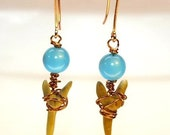 Sharktooth Earrings-Shark Week-Natural Sharks Teeth Wirewrapped With Ocean Blue Beads
