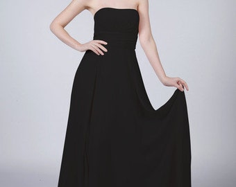 Matchimony Pure Black Long Strapless Prom Bridesmaid Dress with matching items available