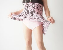 Crossdresser Pink and Black Mini with Big Girl Pink Panties, Sissy, Bi, Drag