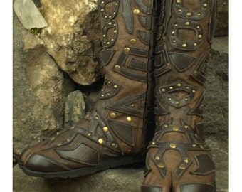 Ninja Shakti Brown Leather Boots - Flower of Life by Pleiadian