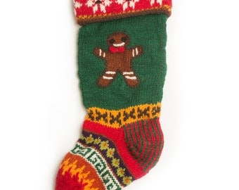 Hand Knit Christmas Stocking: Gingerbread,Bear,Snowflake & Starry Night
