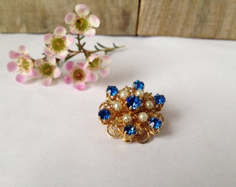 Vintage Coro Blue & Gold Brooch