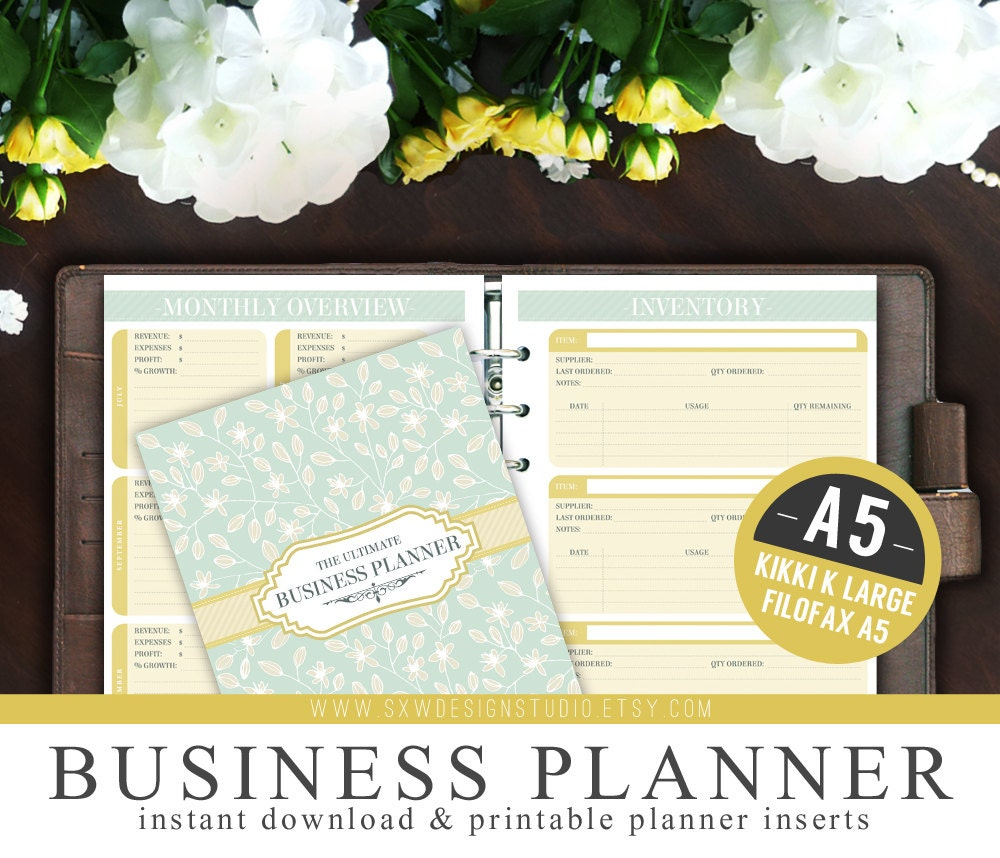 A5 Ultimate Business Planner Organizer Kit Instant Download