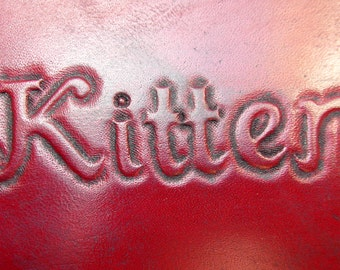 Personalized Upgrade Add On For Any Product. Name or Image Hand Tooled upon Collars, Lingerie, Paddles, Restraints - All Leather LabItems.