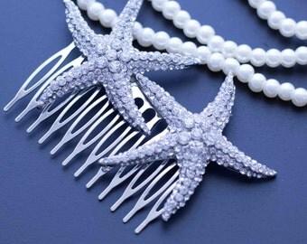 Wedding head piece, wedding hair comb, bridal hair comb, bridal headpiece, Starfish hair comb, headpiece