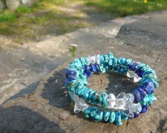 Memory Wire Gemstone Bracelet - Turquoise, Lapis Lazuli, Clear Quartz