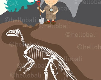 7 Paleontology Dinosaur Prehistoric Clipart, Paleontologist, Fossil Clip Art, Illustration, Scrapbooking, Digital image [Instant Download]