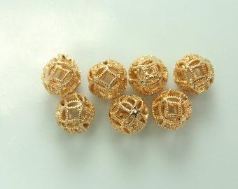 10 pcs 8mm 18k Gold plate open work 3D filigree round bead, G-020