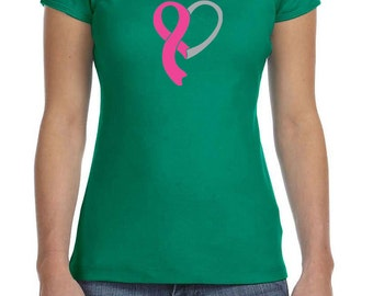 Breast Cancer Awareness Ladies Shirt Heart Ribbon Crewneck Tee T-Shirt HEART-1001