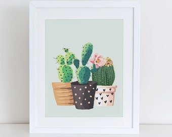Cactus Art Print, Cactus Plant Garden Art Print, Home Sweet Home Printable, Instant Download, Home Decor, Garden Home Art Print Printable