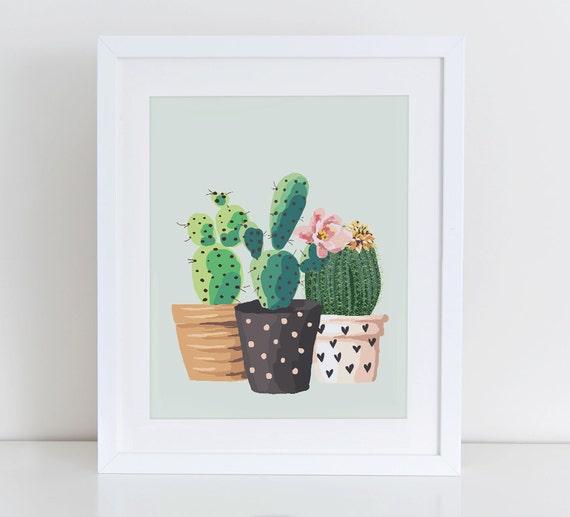 Cactus Art Print, Cactus Plant Garden Art Print, Home Sweet Home Printable, Instant Download, Home Decor, Garden Home Art Print Printable