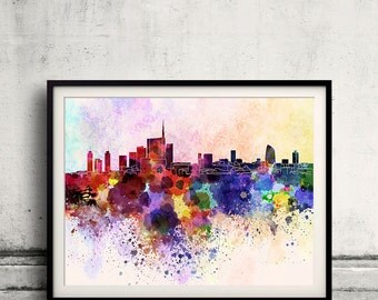 Milan skyline in watercolor background 8x10 in to 12x16 Poster Digital Wall art Illustration Print Art Decorative  - SKU 0079