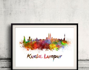 Kuala Lumpur skyline in watercolor over white background with name of city 8x10 in. to 12x16 in. Poster art Illustration Print  - SKU 0228