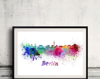 Berlin skyline in watercolor over white background with name of city 8x10 in. to 12x16 in. Poster Wall art Illustration Print  - SKU 0272