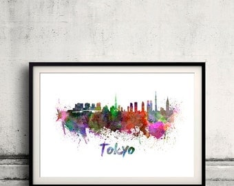 Tokyo skyline in watercolor over white background with name of city 8x10 in. to 12x16 in. Poster Wall art Illustration Print  - SKU 0342