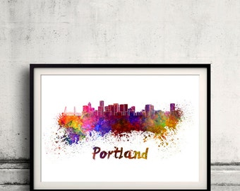 Portland skyline in watercolor over white background with name of city 8x10 in. to 12x16 in. Poster Wall art Illustration Print  - SKU 0361