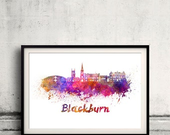 Blackburn skyline in watercolor over white background with name of city 8x10 in. to 12x16 in. Poster Wall art Illustration Print  - SKU 0370