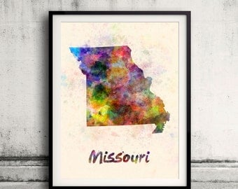 Missouri US State in watercolor background 8x10 in. to 12x16 in. Poster Digital Wall art Illustration Print Art Decorative  - SKU 0412