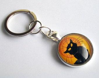 Cat Keychain ~ Le Chat Noir Keychain ~ Black Cat Keychain ~ Art Nouveau Keyring
