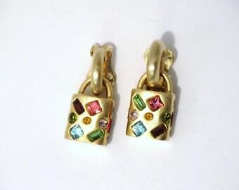 Vintage custom solid Brass/Rhinestone Reversible Earrings.
