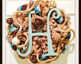 Burlap Initial Wreath, BR044