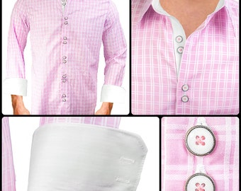 Pink Plaid with White Men's Designer Dress Shirt - Made To Order in USA