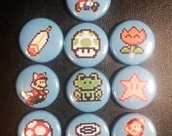 Super Mario Power-Up Button Set