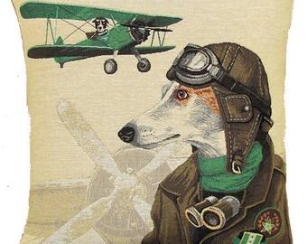 Whippet Bomber Pilot Pillow Cover - 18x18 Belgian Tapestry Pillow Cover - PC-5155