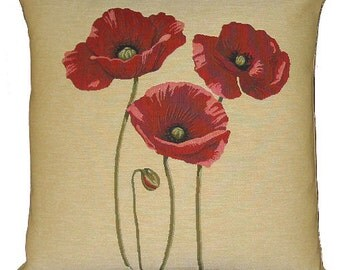 jacquard woven belgian tapestry cushion 3 poppies Flanders Fields