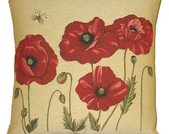 Poppies Pillow Cover - Poppy Decor Throw Pillow - Poppies Gift - 18x18 Belgian Tapestry Pillow Cover - PC-4865
