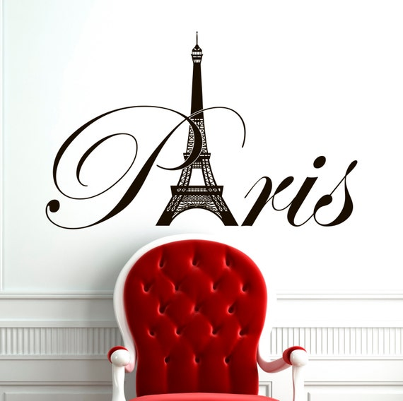 Paris Eiffel Tower Wall Decal Vinyl Lettering By Fabwalldecals