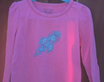 Girls Steampunk Rocket on Long-Sleeve Pink Shirt