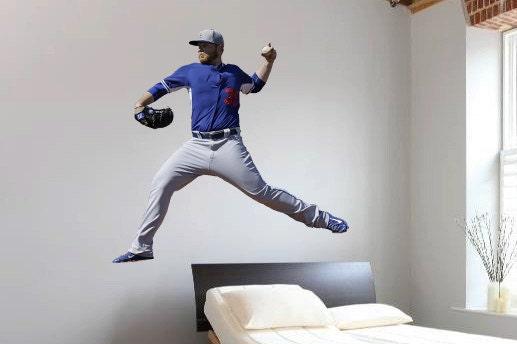 Baseball player bedroom wall decal baseball pitcher for Baseball mural wallpaper