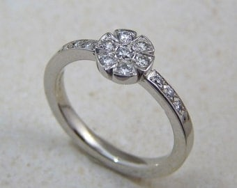 Diamond ring, diamond engagement ring, white diamond ring, diamond ring, pavé diamond ring, 14K white gold engagement diamond ring,