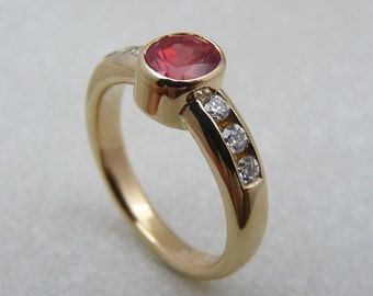 Tanzanian red spinel ring, natural spinel rings, red stone ring, red gemstone & diamond ring, strawberry red spinel, red color stone ring