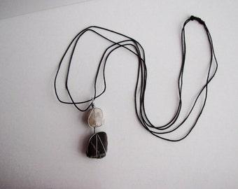 Quartz and Striped Two Stone Necklace