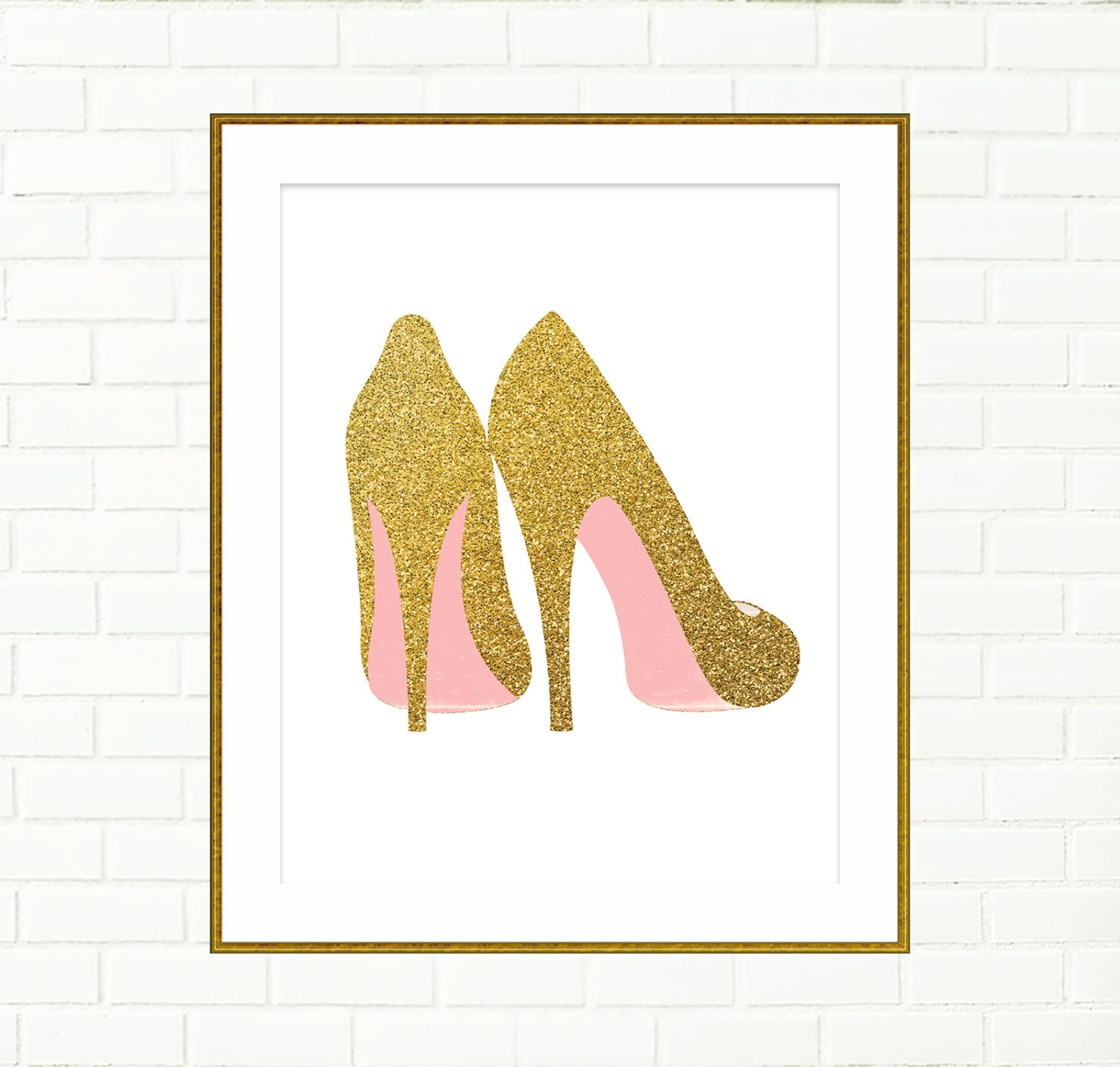 Gold shoes print printable wall decor art poster fashion for Pink wall art