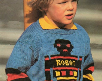 Boys Robot Sweater Knitting Pattern PDF