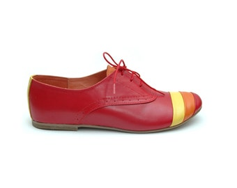 Deea Red Leather Oxford Shoes