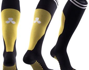 Samson® Yellow Compression Sport Socks Athletic Running Made in UK