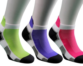 Samson® Running Pink Green Purple Ankle Socks Sport Walking Athletic