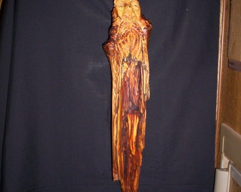 Pine Knot Carving / Hand Carved Pine Knot Wood Spirit