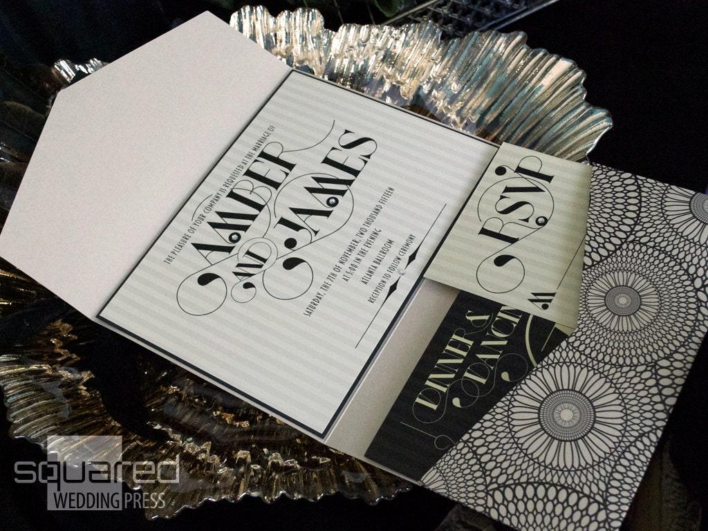Deco Wedding Invitations: Art Deco Wedding Invitation SAMPLE Luxe Wedding Invitation