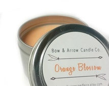 4 oz Natural Soy Candle Orange Blossom Scented   4 oz Tin Candle   Orange Scented Candle   Orange Blossom   Fruit Scented Candle   Gift Idea